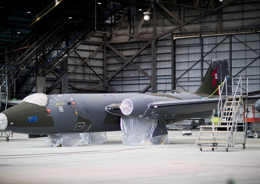 English Electric Canberra bomber being repainted by Aviat Global at Avalon Airport