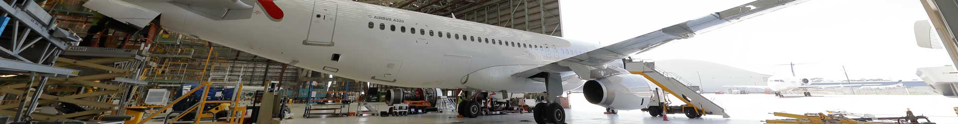 Commercial A320 Airbus inside the Aviat Global Melbourne Jet Base hangar